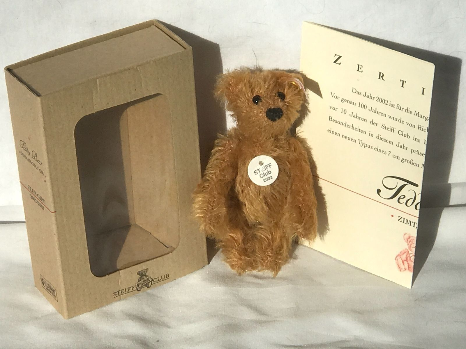 ️Miniature STEIFF Club 2002 MEMBERSHIP GIFT TEDDY BEAR   BLOND ID's BOX COA ️