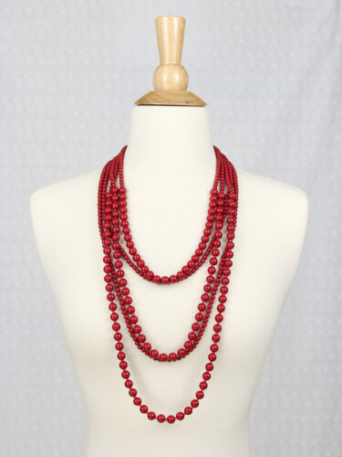 Red Multi Layered Bead Long Statement Necklace