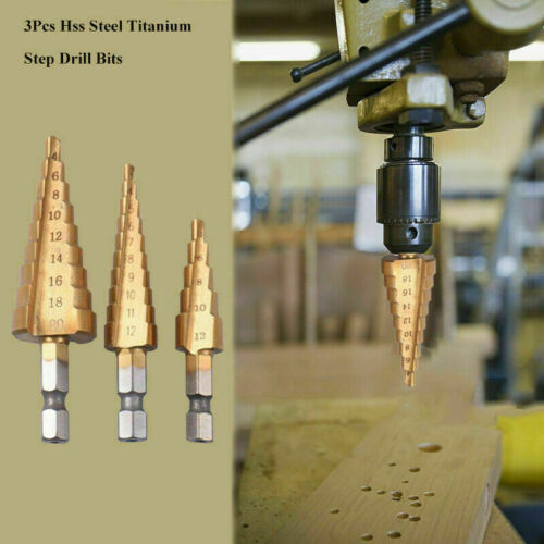Pouch 3PC Large Titanium Step Cone Drill Hole Cutter Bit HSS Set Tool Tackle