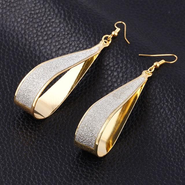 Silver/Gold Scrub Water Drop Shape Hook Dangle Earrings Fashion Rock Women Gift
