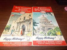 1964 Enco San Antonio / Austin Vintage Road Map /The Alamo & State Capitol