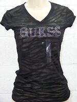 GUESS Black Burnout Sheer Rhinestone Logo Tee Original V Neck T-Shirt Cap Sleeve