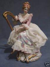 Porcelain Capodimonte Precious' Draughts Harp' Pink Version and Celeste