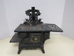 Antique Crescent Cast Iron Toy Wood Cook Stove Doll House  Salesman Sample