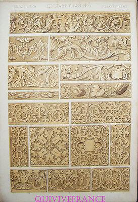 Lithogravure Owen Jones - Grammaire De L'ornement 1868 Pl. Lxxxiii Elizabetheens Refrescante Y Beneficioso Para Los Ojos