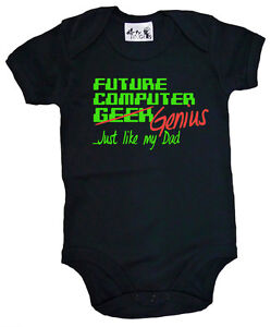 Dirty-Fingers-034-Future-Computer-Geek-Genius-Just-Like-Dad-034-Funny-Bodysuit-Gift