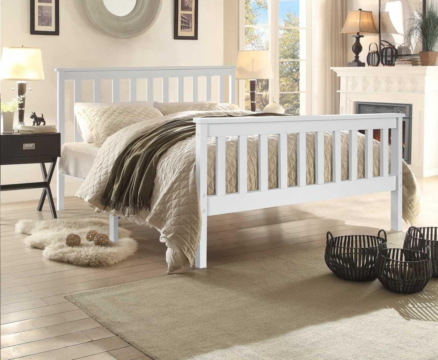 Double 4ft 6 Wooden Bed Frame White Solid Pine Wood Stylish Bedroom Furniture Ebay