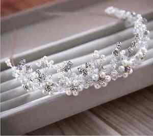 Tiara-Haarschmuck-Diadem-Krone-Kristalle-Strass-Haarreifen-Braut-Hochzeit-Reifen