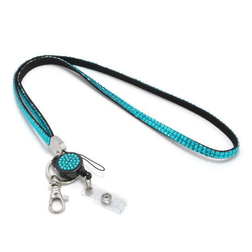 Rhinestone Business ID Badge Lanyard Name Tag Key Card Holder Belt Clip Necklace