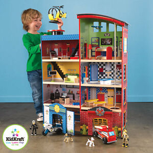 Kidkraft hometown heroes wooden playset fire police kids for Wooden playhouse with garage