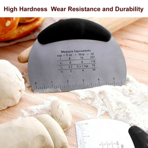 Marveadise Stainless Steel Pizza Dough Scraper Cutter Kitchen Flour Pastry Cake
