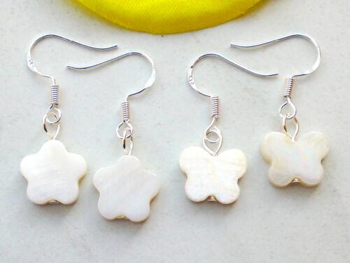 Ohrringe *PERLMUTT Blume Schmetterling Ohrhänger Muschel Perlen Ohrschmuck Neu