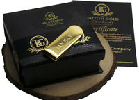 Personalised Money Card Cash Clip Gold Clad In Luxury Gift Box Engraved Free
