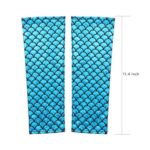 Mermaid Fish Scale Printed Fingerless Long Gloves Arm Sleeves Adult Costume 29CM