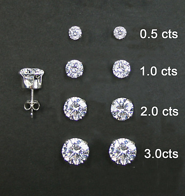 925 Sterling Silver Round Stud Set of 4 Earrings (0.5cts,1.0cts, 2.0cts, 3.0cts)