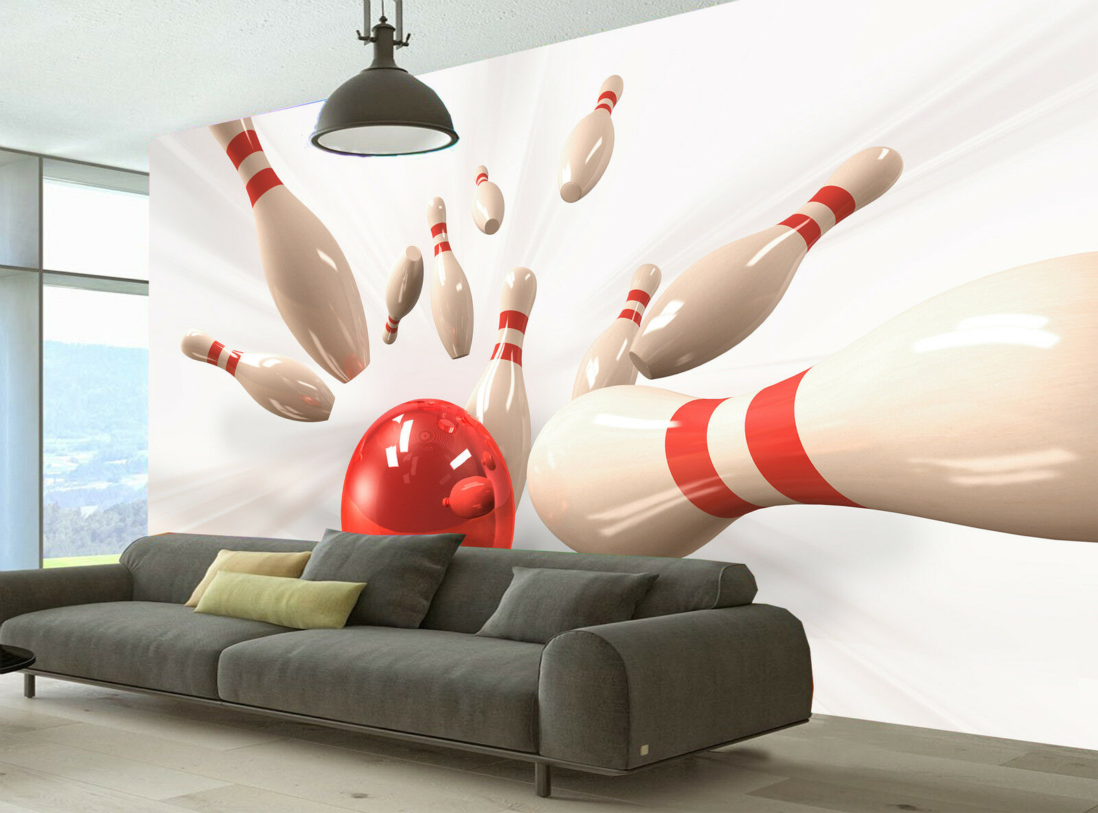 Photo Wallpaper  Bowling  GIANT WALL DECOR PAPER POSTER FOR BEDROOM