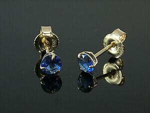 585-Gold-Ohrstecker-mit-3-Krappen-1-Paar-4-mm-Groesse-mit-echten-Saphiren