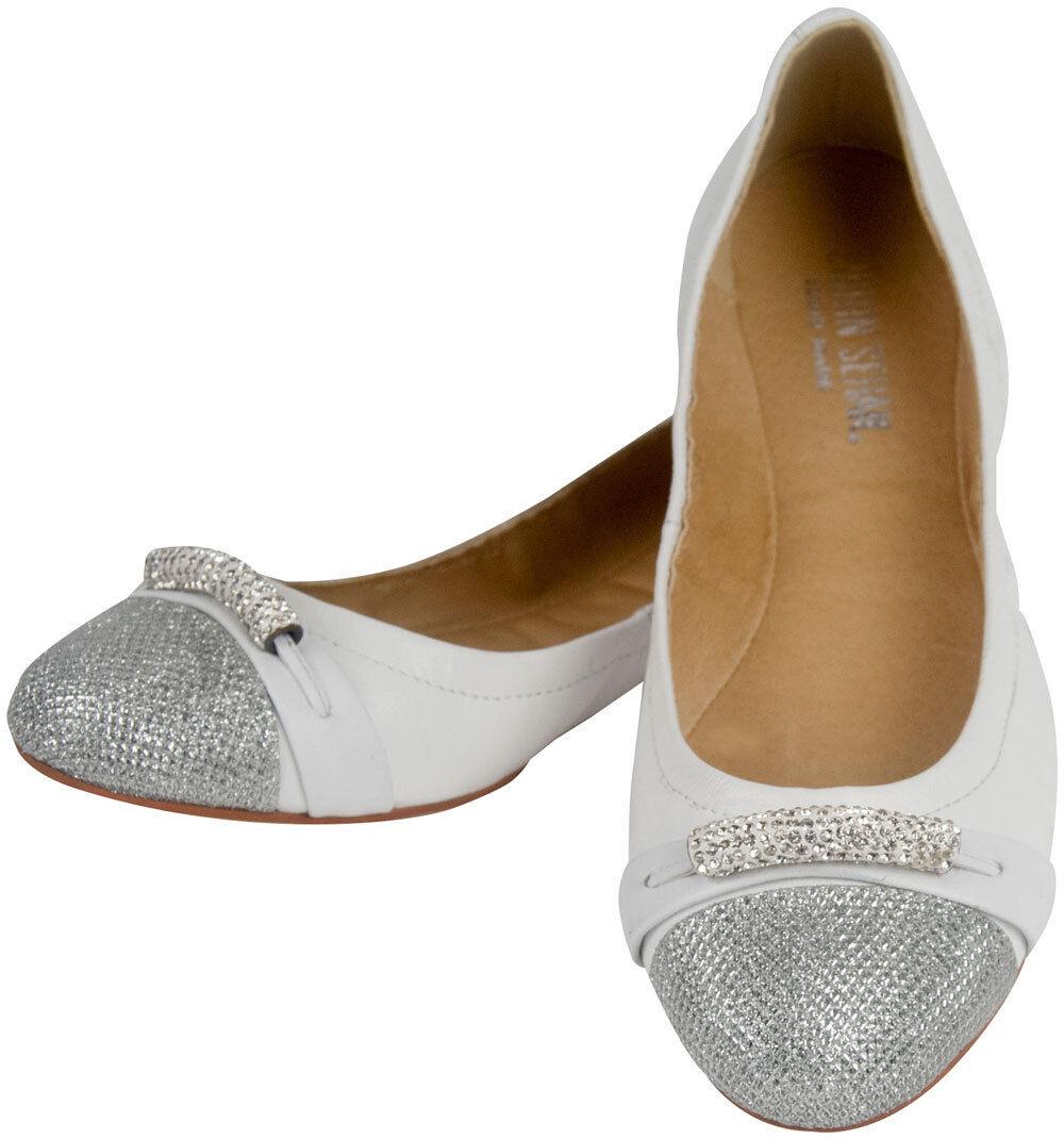 Ballerina Shirin SEHAN PELLE SCARPA DONNA STRETCH GLITTER STRASS bianco argento elegante