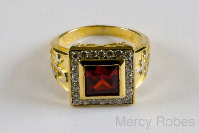 Red Stone,Yellow Gold Plating Sterling Men/'s Clergy Apostle Ring Subs687G-R