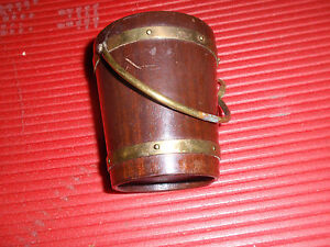 "ANTIQUE/VINTAGE SMALL WOODEN & BRASS BUCKET 3 1/2"" X 2 1/2 """