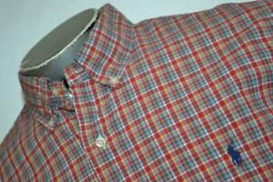 9095-a-Mens-Polo-Ralph-Lauren-Dress-Shirt-Size-Large-Custom-Fit-Red-Plaids