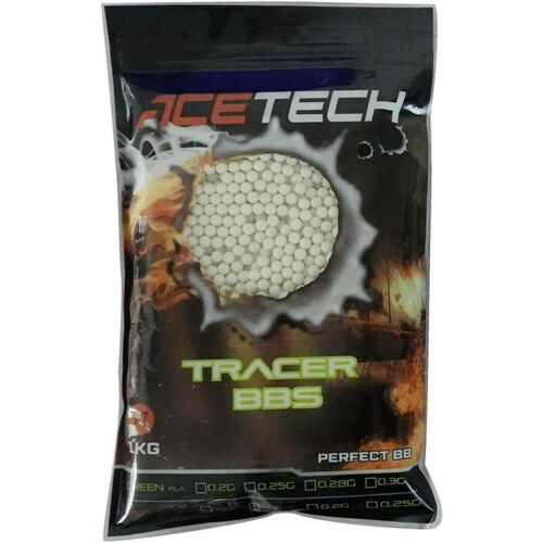 ACETECH 0.20G GREEN TRACER BB 5000RDS ROUNDS BULLETS AMMO AIRSOFT 6MM UK STOCK