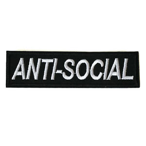 Anti-Social-Iron-On-Patch-Embroidered-Sew-On-Punk-DIY-Gothic-Black