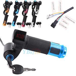 12V-99V-Scooter-Electric-Bike-EBike-Throttle-Grip-Handlebar-LED-Digital-Meter-LJ