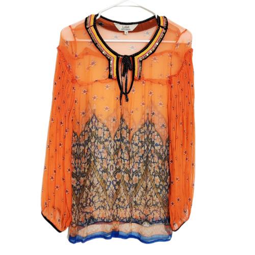 Ritu Kumar Label Orange Blouse Sheer Floral Long Sleeve Top Womens Size 4