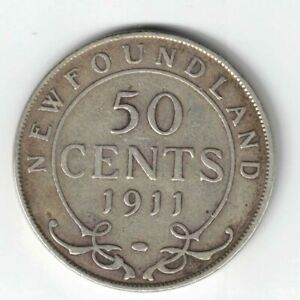 NEWFOUNDLAND-1911-50-CENTS-HALF-DOLLAR-KING-GEORGE-V-STERLING-SILVER-COIN