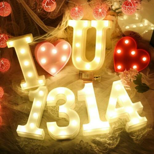Large LED Numbers Light Alphabet Letters Warm White Lights Numbers Standi A-Z