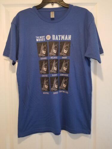 New Many Moods of Batman Adult Medium Funny Marvel Soft Blue Tee Shirt