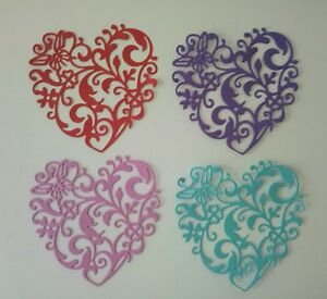 Die-Cut-LACE-HEARTS-x4-embellishments-for-cards-scrapbooking