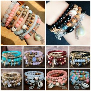 4Pcs-set-Charm-Boho-Multi-layer-Natural-Stone-Bangle-Beaded-Bracelet-Jewelry