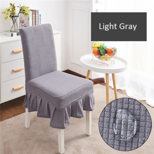 Removable Waterproof Dining Chair Seat Covers Ruffle Hem Stretch Chair Slipcover