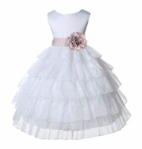 White-Tired-Organza-Flower-Girl-Dress-Pageant-Wedding-Communion-Baptism-Recital