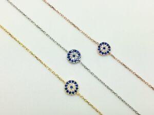 925-Sterling-Silver-18K-Gold-Rose-Cubic-Zirconia-CZ-Evil-Eye-Mati-Nazar-Bracelet