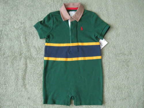 RALPH LAUREN Baby Boy/'s Color-Blocked Mesh Shortall 12M