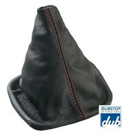 Vw Golf Jetta Italian Leather Shift Boot Gaiter Black / Red Stitch Gti Gli Mk3
