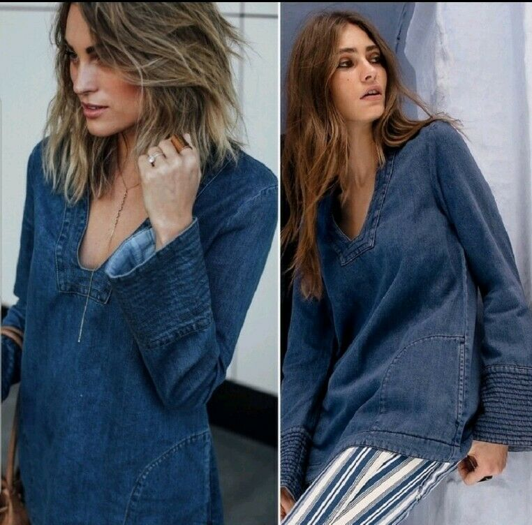 Anthropologie Free People Dreaming of Denim Größe Small Tunic Top  NWT A17