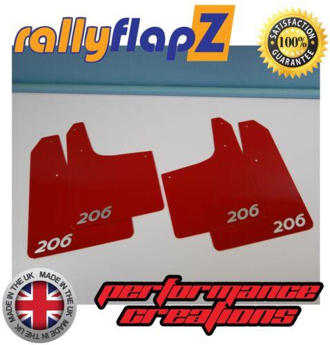 Rally Estilo mudflaps Peugeot 206 MUD FLAPS RallyflapZ logotipo en rojo de plata 4 mm de PVC