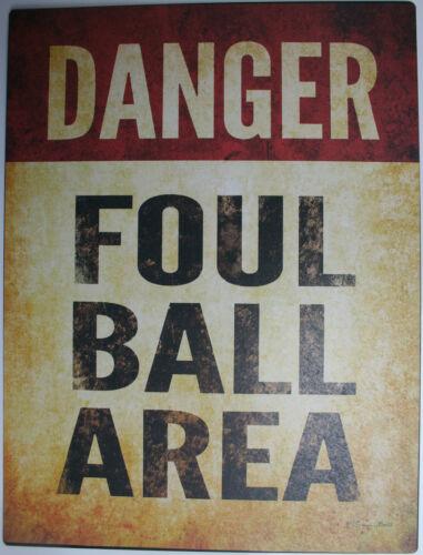 Iron Tin Metal Sign Home Kitchen Baseball Danger foul ball area bat man cave new
