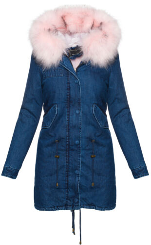 Damen winter jacke jeansjacke damen mantel xxl-fell kapuze damenjacke S-XL D-220