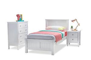 Image Is Loading Elegant White Timber King Single Bed Frame Only