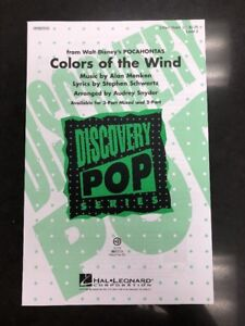 Colors Of The Wind 3 Part Mixed Choral Sheet Music New 884088211301