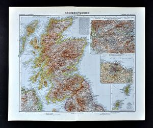 Map Of England Edinburgh.1911 Stieler Map Scotland England Edinburgh Glasgow Loch Ness Orkney