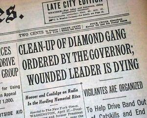 Mobs, Gangsters & Criminals Historical Memorabilia Jack 'legs' Diamond Gangster Boss Shot & Fred 'killer' Burke 1931 Nyc Newspaper