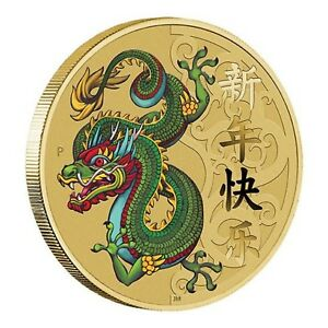 2016-Chinese-New-Year-of-Monkey-Tuvalu-1-One-Dollar-Dragon-UNC-Coin-Perth-Mint