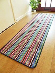 Washable Rugs Non Slip Multi Colour Stripe Kitchen Utility Mat Runner