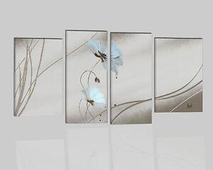 Quadri dipinti a mano su tela astratti moderni beige con for Quadri moderni fiori dipinti a mano